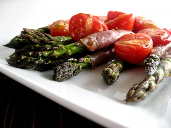 Roasted Asparagus with Tomatoes & Proscuitto
