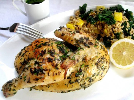 Skillet-Roasted Chicken with Farro and Herb Pistou | Mybestdaysever ...