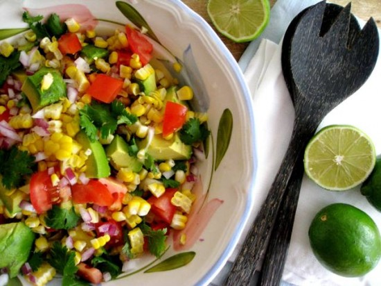 Summer Salad (with sweet corn, tomato and avocado)