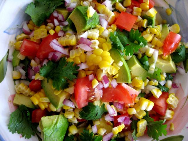 and of course perfectly ripe tomatoes corn and avocado are