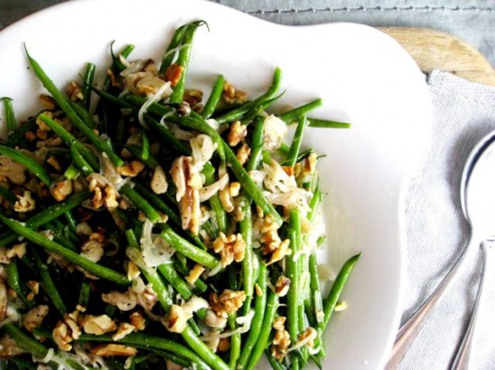 ... green beans roasted green beans and scallions marinated mushroom green